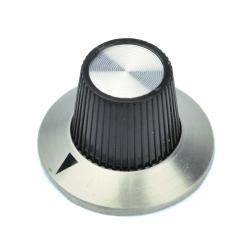 Gałka 3018 bez skali 6mm, szary, czarny, fi 29/15mm 18mm, aluminium, plastik, blokowane ze śrubą