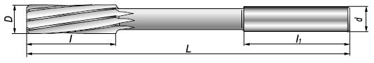Rozwiertak maszynowy DIN 212-C 16 H7 HSS - rysunek techniczny