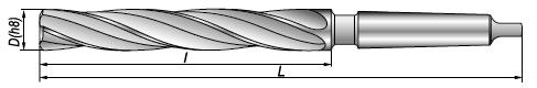 Rozwiertaki maszynowe NRTb - rysunek techniczny
