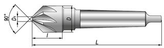 Zestaw 3szt pogłębiaczy stożkowych HSS 90 Alpen - rysunek techniczny