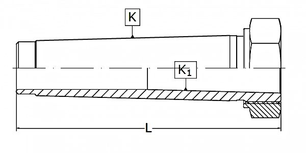 Redukcje proste z nakrętką ściągającą | TYP 1774 - rysunek techniczny