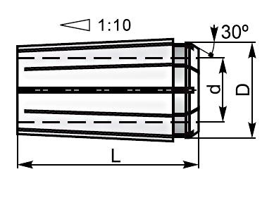 Tulejki zaciskowe EO-B - rysunek techniczny