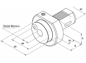 Oprawki VDI do narzędzi z chwytem Morse\'a - rysunek techniczny