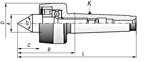 Kieł tokarski obrotowy - rysunek techniczny