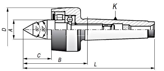 Kieł tokarski obrotowy wydłużony - rysunek techniczny