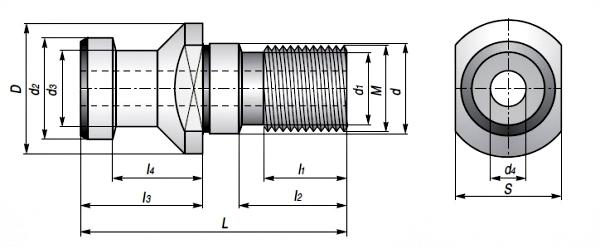 Końcówki ściągające DIN - rysunek techniczny