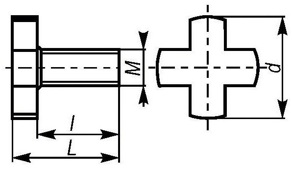 Śruby krzyżowe - rysunek techniczny