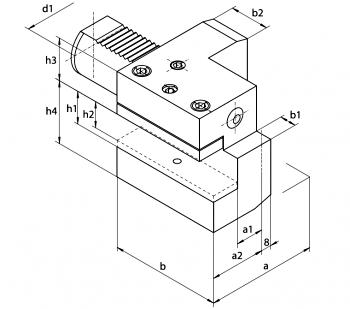 Oprawki nożowe lewe, wzdłużne (1133L - Typ C2) - rysunek techniczny