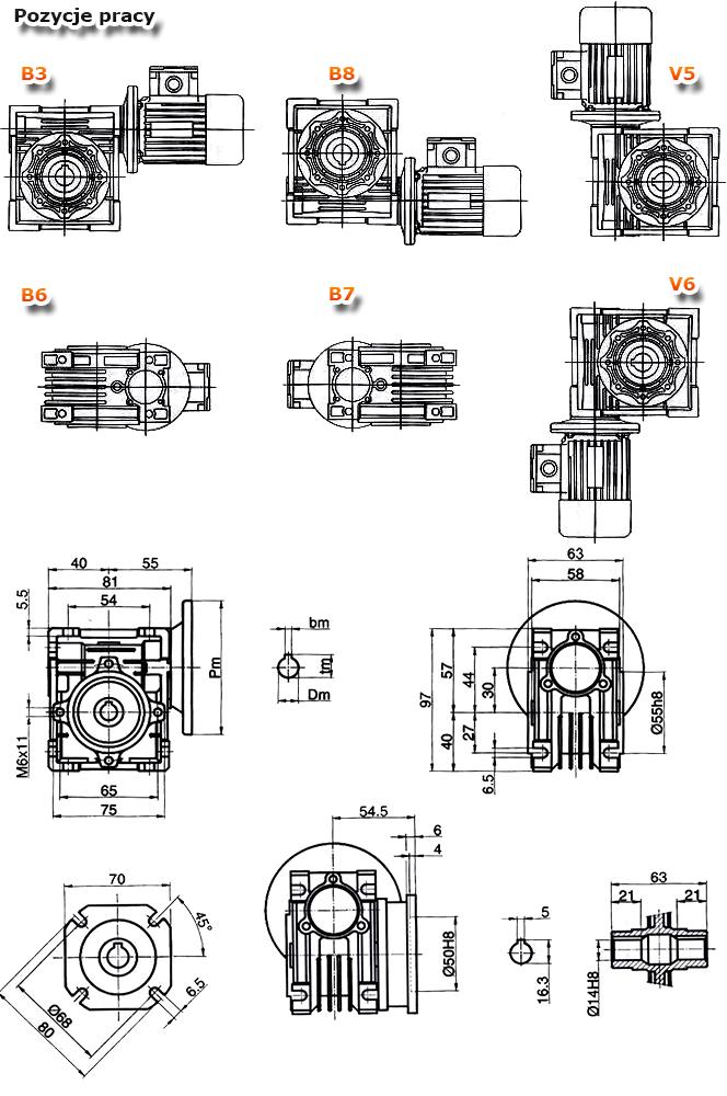 Przekładnie ślimakowe TM 030 - rysunek techniczny