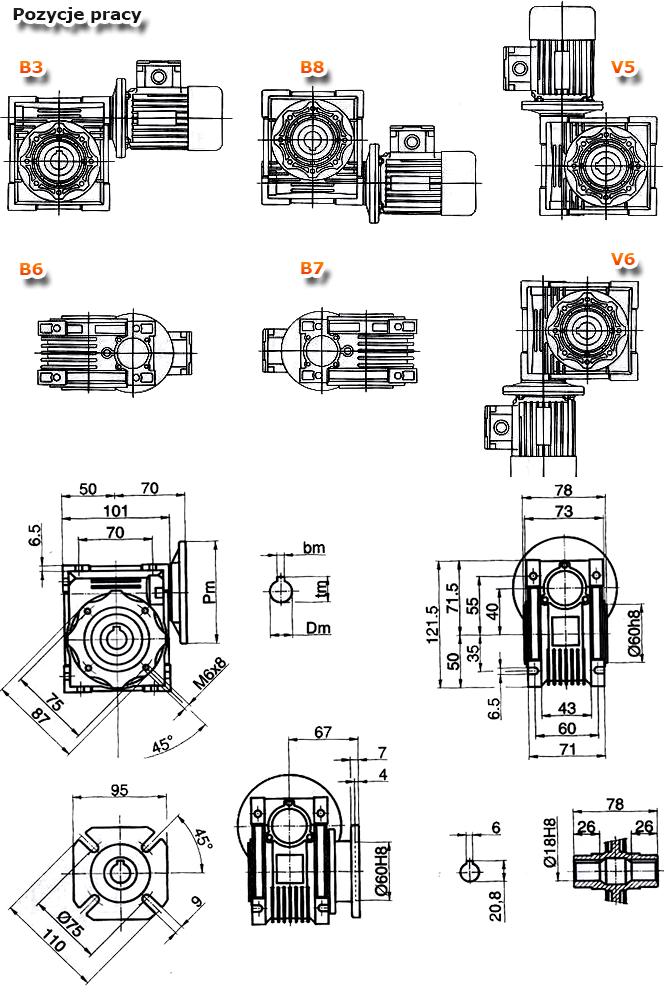 Przekładnie ślimakowe TM 040 - rysunek techniczny
