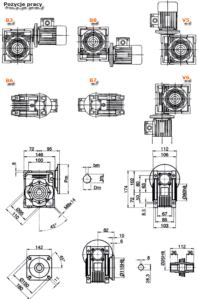 Przekładnie ślimakowe TM 063 - rysunek techniczny
