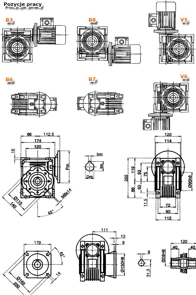 Przekładnie ślimakowe TM 075 - rysunek techniczny