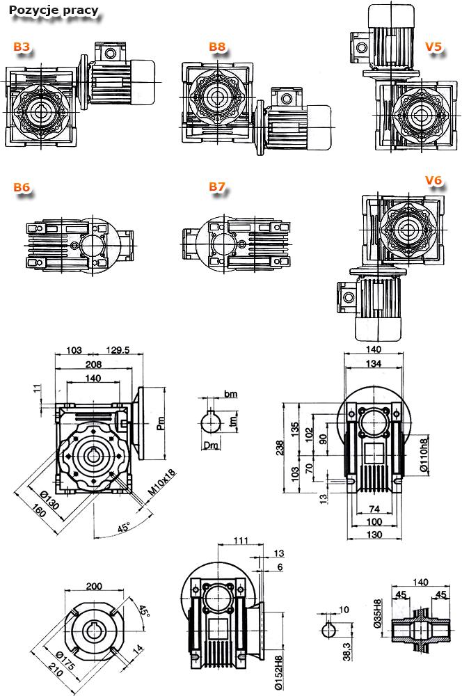 Przekładnie ślimakowe TM 090 - rysunek techniczny