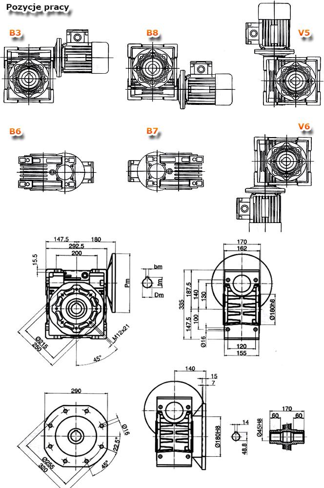 Przekładnie ślimakowe TM 130 - rysunek techniczny