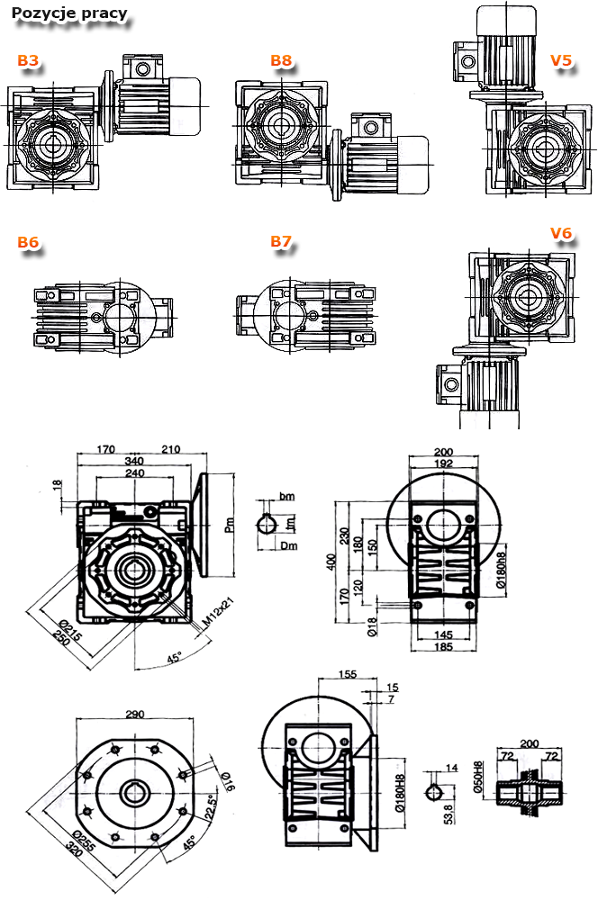 Przekładnie ślimakowe TM 150 - rysunek techniczny