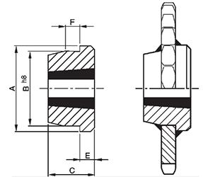 Piasta do przyspawania pod TaperLock WM 16-2 - rysunek techniczny