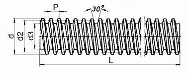Śruby trapezowe zwykłe - rysunek techniczny