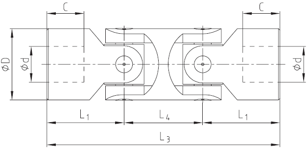 Przeguby faliste podwójne - rysunek techniczny