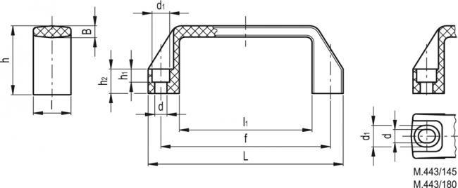 Uchwyt M.443/170-N-CH - rysunek techniczny
