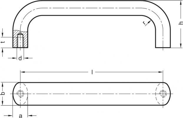 Uchwyty GN 565 - rysunek techniczny
