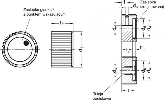 Pokrętła sterujące radełkowane GN 726