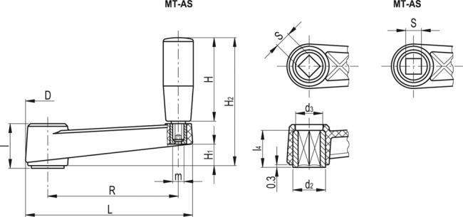 Korby z rękojeścią obrotową MT.AS - rysunek techniczny