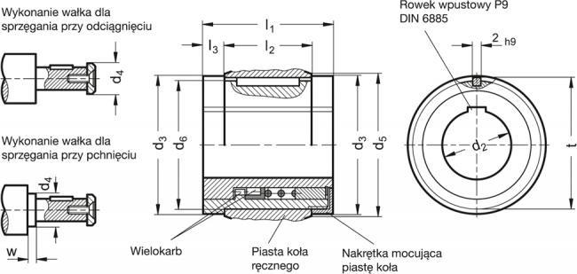 Zestaw sprzęgłowy z łożyskiem ślizgowym - rysunek techniczny