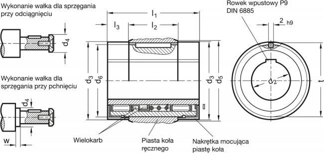Zestaw sprzęgłowy z łożyskiem igiełkowym - rysunek techniczny