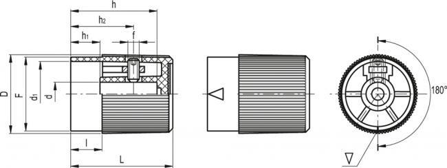 Pokrętła sterujące z chwytem radełkowanym i wskazówką IZP+K