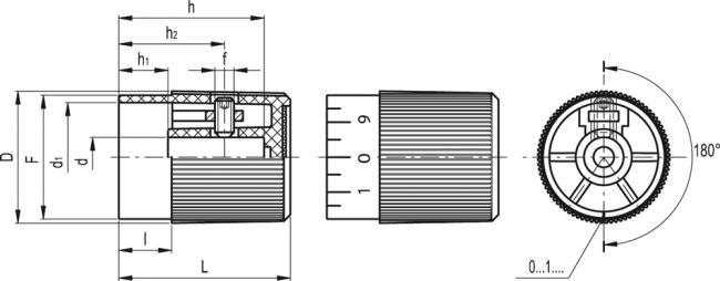 Pokrętła sterujące z chwytem radełkowanym i skalą IZP+GS