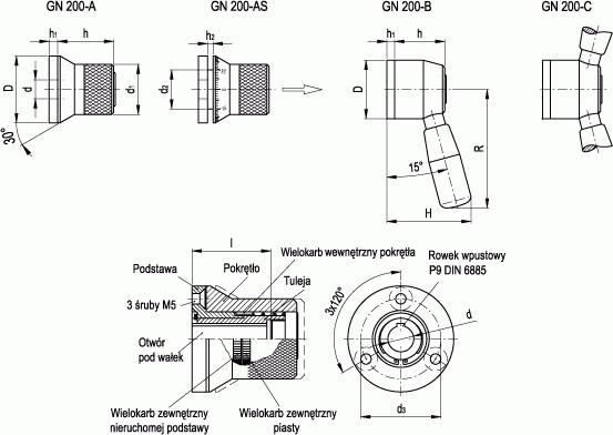 Mechanizmy pozycjonujące GN 200
