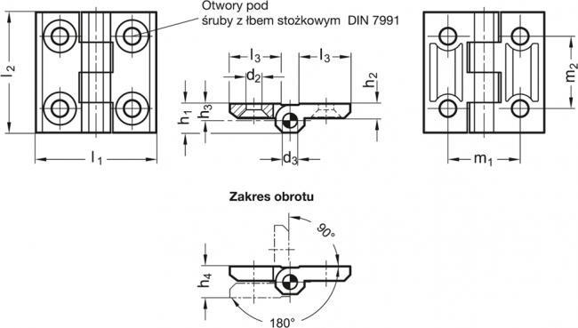 Zawiasy nierdzewne GN 237-NI - rysunek techniczny
