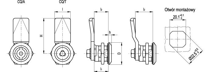 Zamki z kluczem gniazdowym CQ.IN - nierdzewne - rysunek techniczny