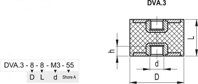 Wibroizolator DVA.3-100-40-M16-40 - rysunek techniczny