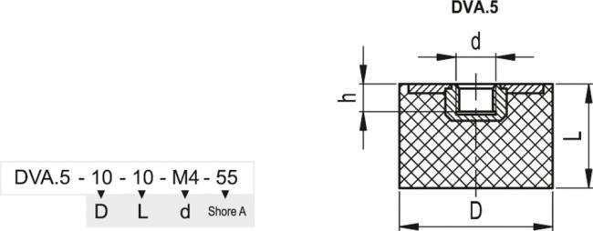 Wibroizolatory DVA.5 - rysunek techniczny