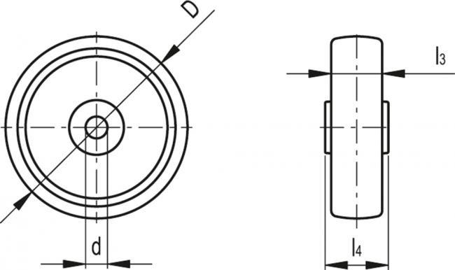 Zestaw kołowy RE.G1-150-RBL - rysunek techniczny