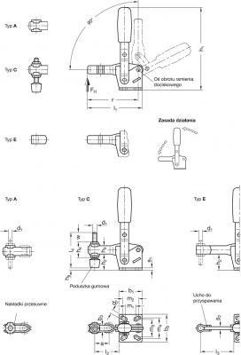 Dociskacze GN 810 - rysunek techniczny