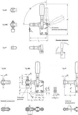 Dociskacze GN 810.1 - rysunek techniczny