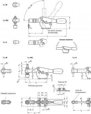 Dociskacze GN 820 - rysunek techniczny