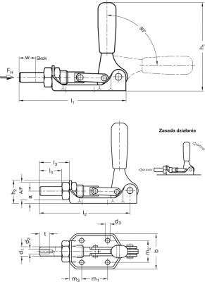 Napinacze GN 841 - rysunek techniczny