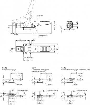 Zapięcia GN 853 - rysunek techniczny