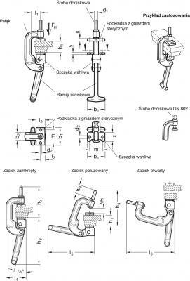 Zapięcia GN 855 - rysunek techniczny