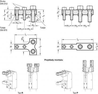 Uchwyty GN 868 do szczęk dociskowych - rysunek techniczny