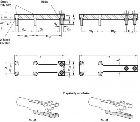 Uchwyty GN 869.2 do szczęk dociskowych - rysunek techniczny