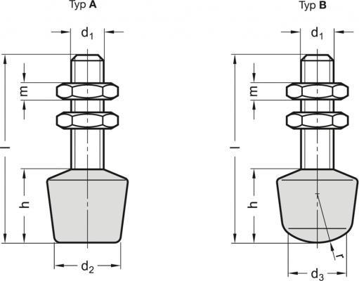 Śruby dociskowe GN 708.1 - rysunek techniczny