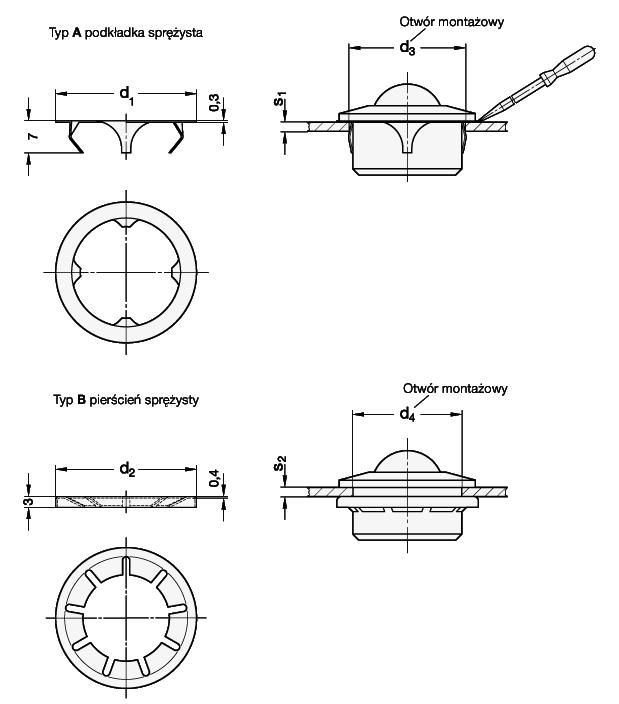 Pierścienie montażowe GN 509.3 - rysunek techniczny