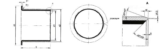 Tuleja ślizgowa TUF - kołnierzowe - PTFE