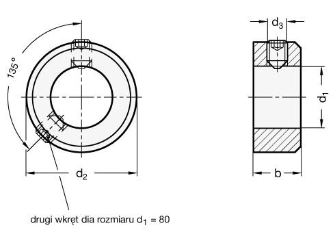 Pierścienie osadcze GN 705-ZB (DIN 705) - rysunek techniczny