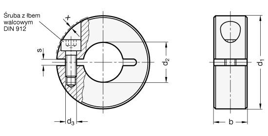 Pierścień osadczy rozcięty GN 706.2-36-B15-NI - rysunek techniczny