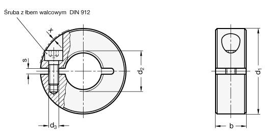 Pierścienie osadcze gwintowane nierdzewne GN 706.3-NI